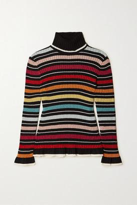Mary Katrantzou Bow Striped Metallic Ribbed-knit Turtleneck Sweater - Black
