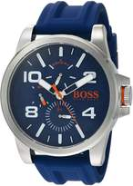HUGO BOSS BOSS Orange Men's 'DETROIT SPORT' Quartz Stainless Steel and Silicone Casual Watch, Color: (Model: 1550008)