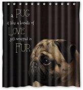 """Custom Wterproof Fbric Bthroom Shower Curtin Pug Dog 66""""(w) x 72""""(h)"""