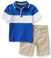 Nautica Little Boys 2T-7 Polo Shirt & Flat Front Shorts Set