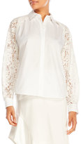 DKNY Long Sleeve Collared Lace Shirt