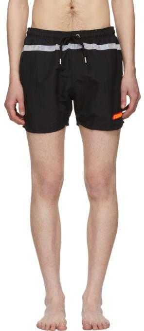 Heron Preston Black Reflective Swim Shorts