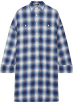 R 13 Oversized Checked Cotton-flannel Mini Dress - Blue