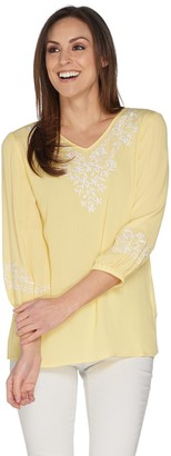Belle By Kim Gravel Embroidered Stretch Top