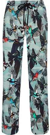 Markus Lupfer Agnes Printed Crepe De Chine Wide-Leg Pants
