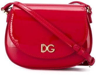 Dolce & Gabbana Kids DG logo patent leather crossbody bag