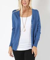 Jane Blue Mist Button-Sleeve Cardigan