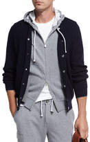 Brunello Cucinelli Cashmere Ribbed Baseball Cardigan, Navy
