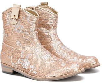 MonnaLisa TEEN sequinned ankle boots