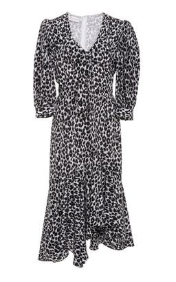 Michael Kors Leopard-Print Asymmetric Silk Dress