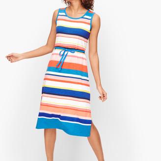 Talbots Belted Stripe Midi Dress
