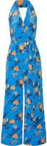 Diane von Furstenberg Floral-print Silk Halterneck Jumpsuit - Azure