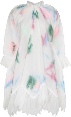 Susan Fang Layered Feather Organza Swing Dress