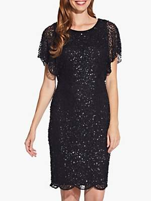 Adrianna Papell Flutter Sleeve Bead Dress, Black