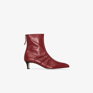 SALONDEJU Red 50 leather pointed toe ankle boots