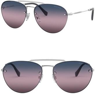 Miu Miu 59mm Aviator Sunglasses
