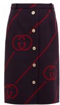 Gucci GG-jacquard Wool-blend Skirt - Womens - Navy Multi