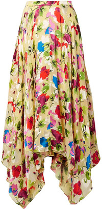 Saloni Freja Asymmetric Floral-print Devore-chiffon Midi Skirt