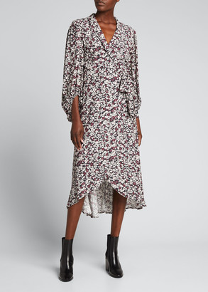 Ganni Floral-Print Crepe Blouson-Sleeve Wrap Dress