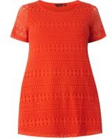 Dorothy Perkins Womens DP Curve Plus Size Red Geometric Lace Front T-Shirt- Red