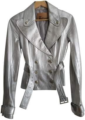 John Galliano Silver Leather Jacket for Women