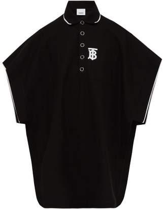 Burberry Monogram Embroidered Cotton Pique Polo Shirt - Mens - Black