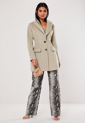 Missguided Stone Dart Detail Formal Coat