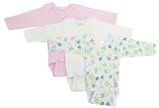 Bambini Long Sleeve Variety Printed Bodysuits, 3pk (Baby Girls)