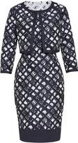 Gina Bacconi Navy White Jacquard Dress And Jacket