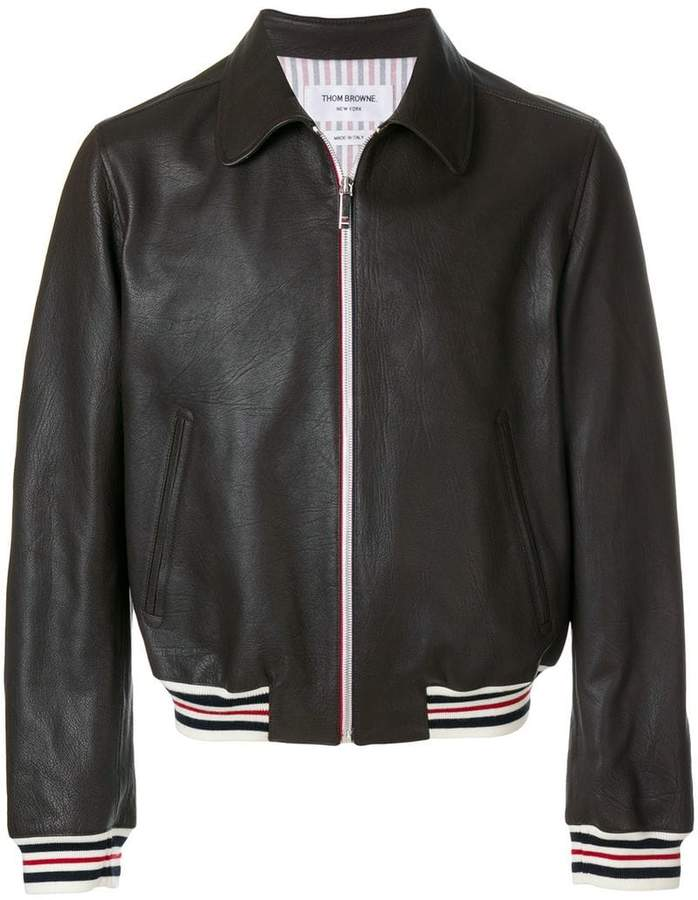 Thom Browne striped detail leather jacket