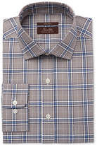 Tasso Elba Men's Classic/Regular Fit Non-Iron Brown Blue Twill Oversize Plaid Dress Shirt, Created for Macy's