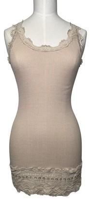 Rosemunde Vintage Deep Lace Vest Top Soft Powder - xlarge