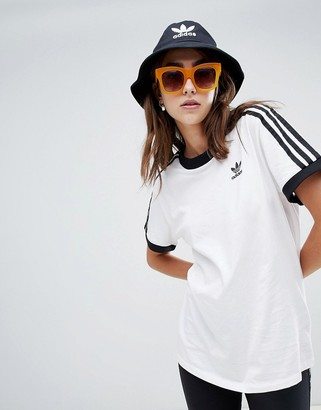 adidas adicolor three stripe t-shirt in white