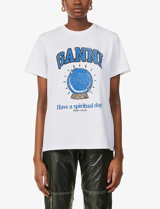 Ganni Have A Spiritual Day-print organic cotton-jersey T-shirt