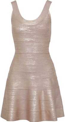 Herve Leger Fluted Metallic Bandage Mini Dress