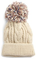 BP Women's Pompom Cable Knit Beanie - Beige