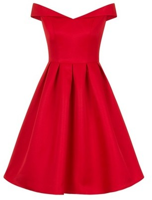 Dorothy Perkins Womens *Chi Chi London Red Bardot Midi Skater Dress, Red