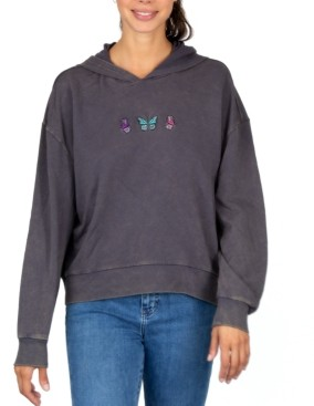 Rebellious One Juniors' Embroidered Butterflies Hoodie