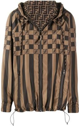 Fendi Stripe-Pattern Logo-Print Jacket