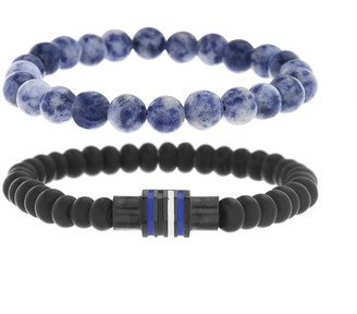Ben Sherman Men's Black and Blue Beaded Double Strand Stretch Bracelet Set with Stainless Steel Black IP Rondelle Beads