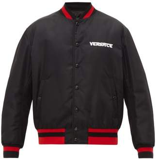 Versace Logo Embroidered Bomber Jacket - Mens - Black
