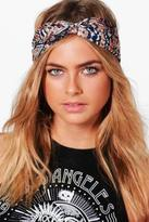 boohoo Womens Charlotte Blue Aztec Print Turban Headband in Blue size One Size