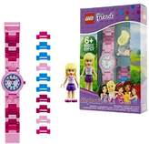 Lego Friends Stephanie Kids Buildable Watch with Link Bracelet and Minifigure | pink/white | plastic | 28mm case diameter| analogue quartz | boy girl | official