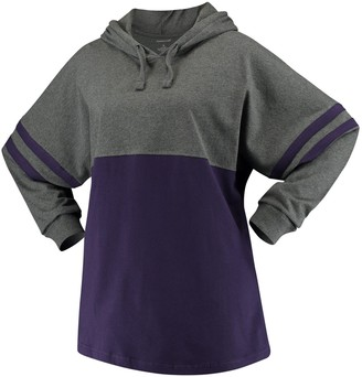 Unbranded Women's Purple ECU Pirates Pom Pom Jersey Oversized Long Sleeve Hoodie T-Shirt