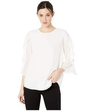 Calvin Klein Gathered Ruffle Sleeve Blouse (Soft White) Women's Clothing