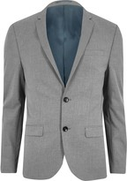 Mens Light Grey skinny fit suit jacket