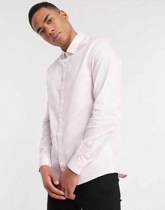 Topman long sleeve shirt in pink & white stripe