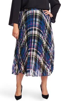 Vince Camuto Plaid Pleated Midi Skirt