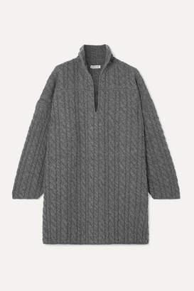 Balenciaga Oversized Cable-knit Wool Sweater - Gray