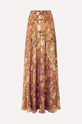 Etro Printed Fil Coupé Silk-blend Georgette Maxi Skirt - Plum
